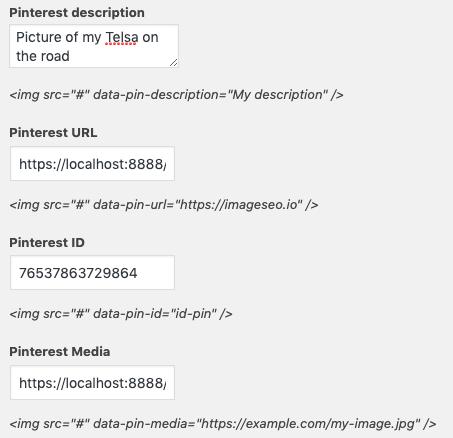 Pinterest attribute for WordPress