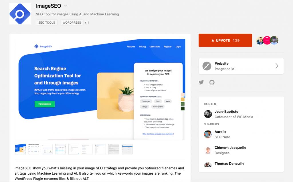 El SEO de imágenes apareció en ProductHunt