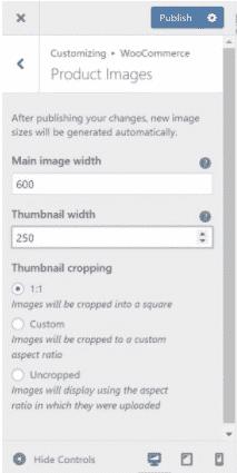 WooCommerce interface for customizing thumbnails