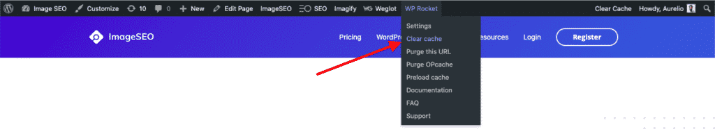 How to clear WP Rocket Cache