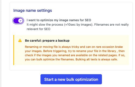 Image name settings