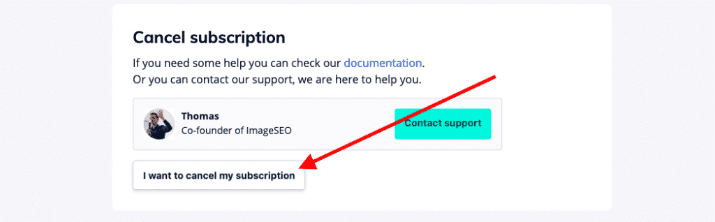canceling ImageSEO's subscription 1/1