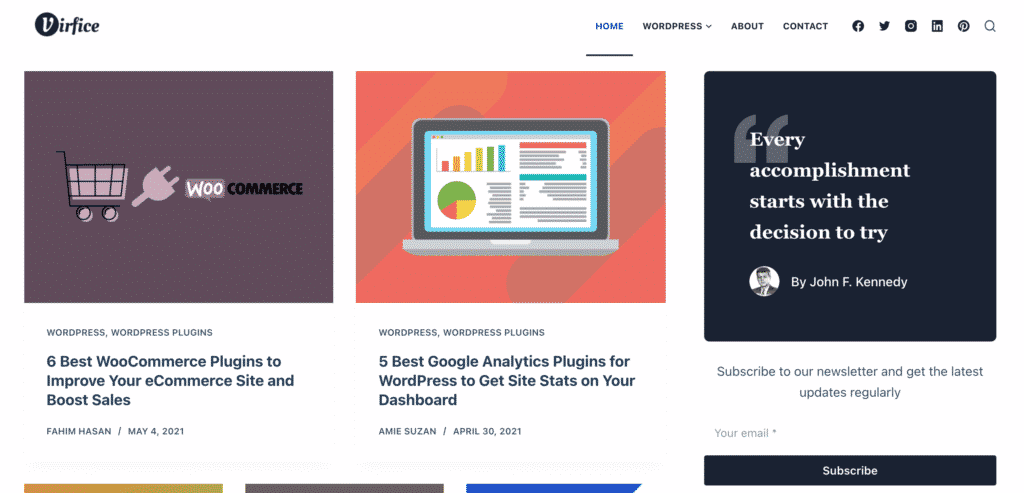Virfice homepage